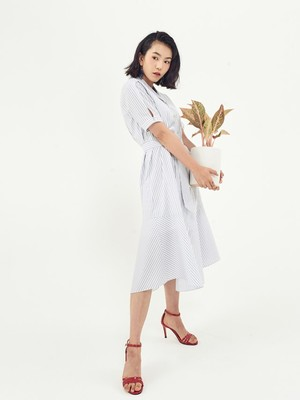 [Oh.L] CROSS SHORTS SLEEVE ROBE DRESS_WHITE BLUE STRIPE