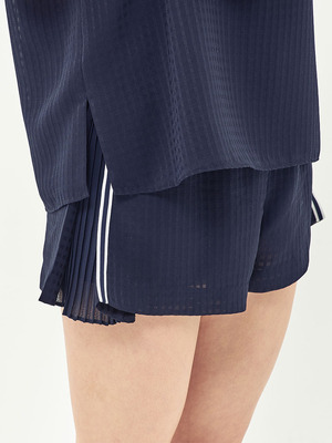 [Oh.L] POINT TAPE PLEATS SHORTS_NAVY