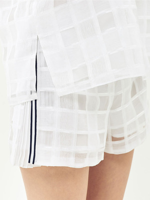 [Oh.L] POINT TAPE PLEATS SHORTS_WHITE