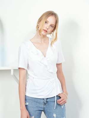[VEM.VER] RUFFLE POINT WRAP TOP (WHITE)