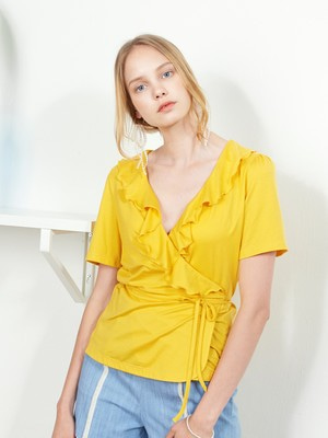 [VEM.VER] RUFFLE POINT WRAP TOP (YELLOW)