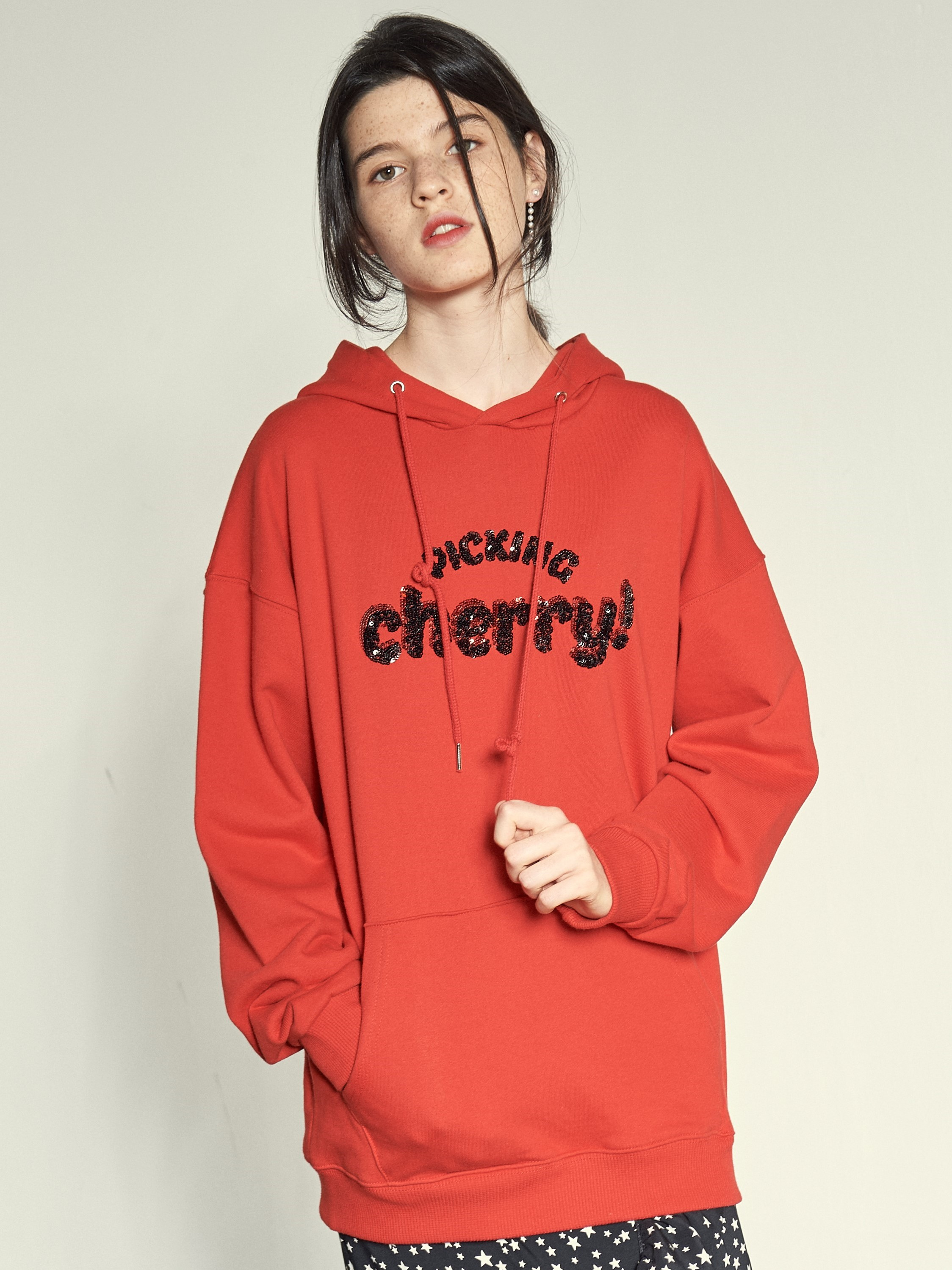 [VEMVER] SPANGLE PULLOVER HOODY (RED)