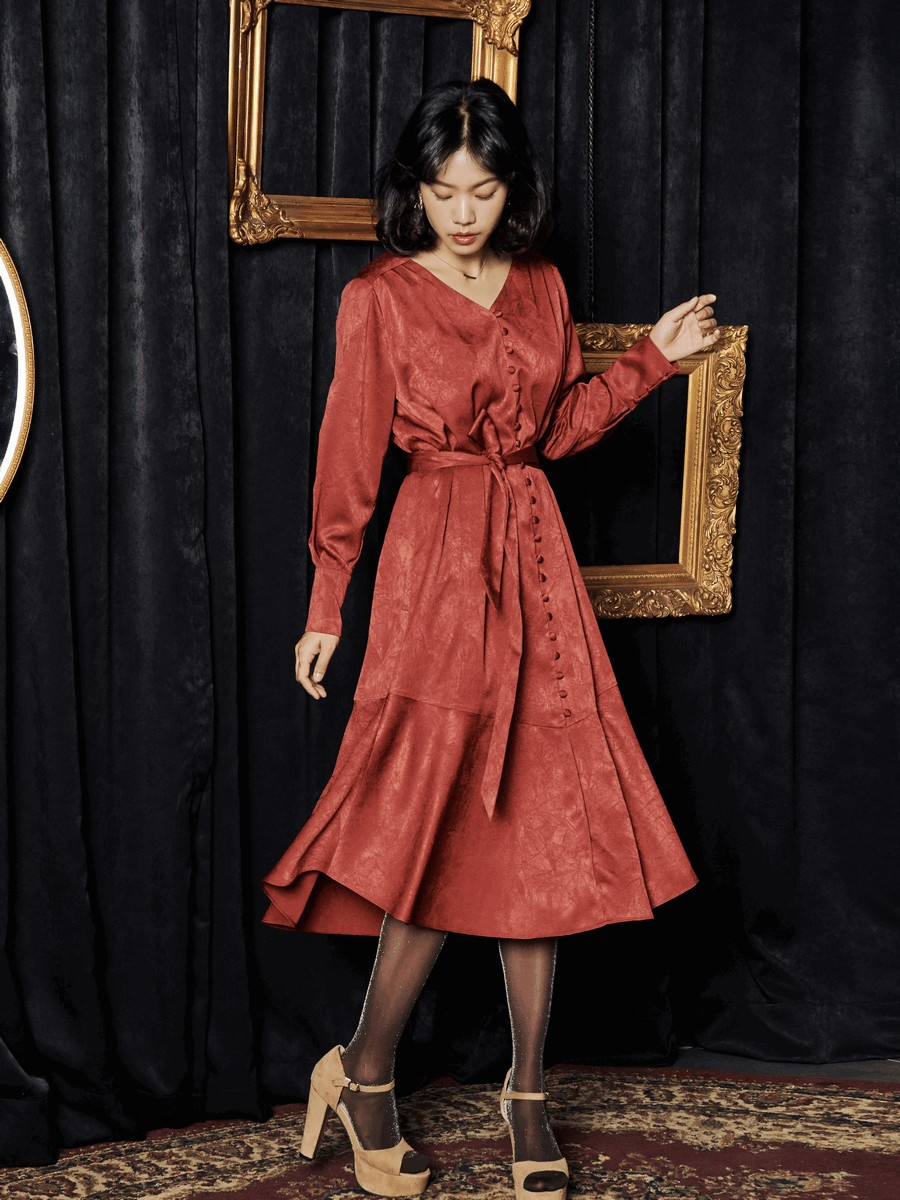 [oh.L] INVERTED PLEAT SLEEVE ROBE DRESS_DEEP RED