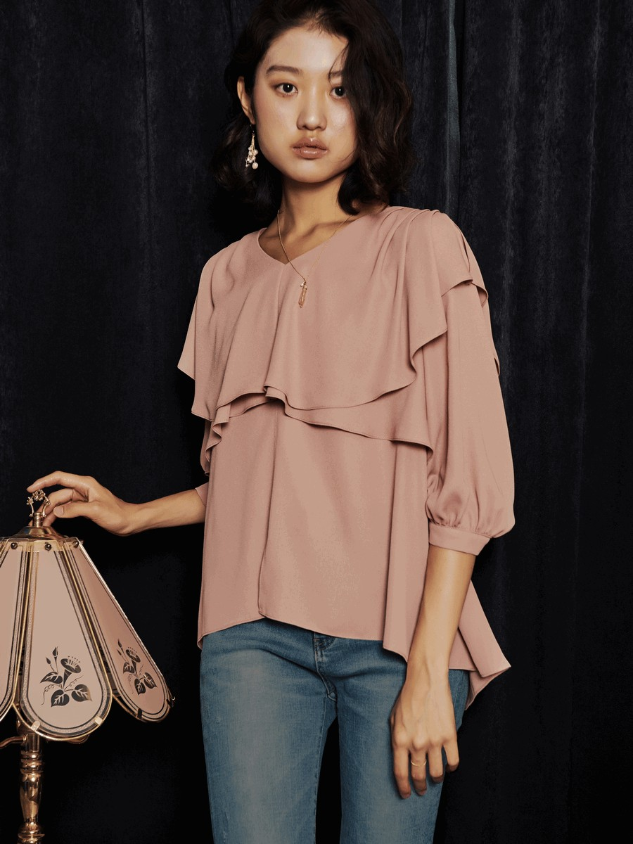 [oh.L] CROSS RUFFLE V NECK BLOUSE_SKIN PINK