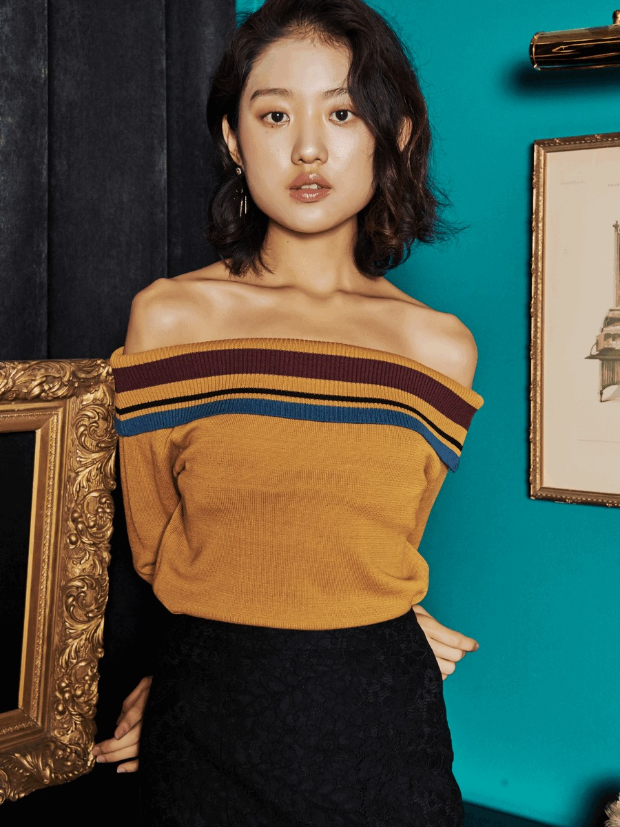 [oh.L] OFF SHOULDER KNIT_MUSTARD