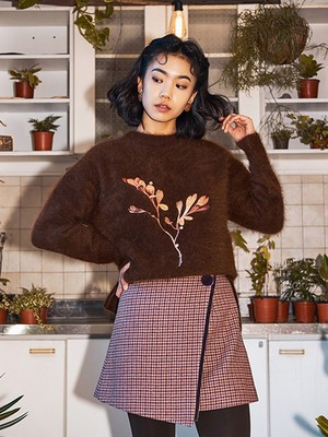 [oh.L] BRIGHT SPRIG ANGORA KNIT  (BROWN)