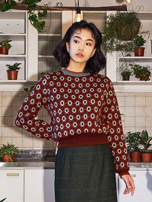 [oh.L] DAISY PATTERN COLOR MIX KNIT (BROWN)