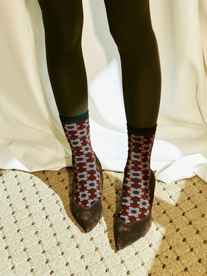 [oh.L] DAISY PATTERN COLOR MIX SOCKS (BROWN)