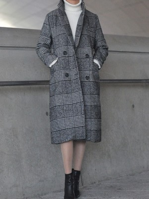 [KEYCLUE] CHECKMATE SLIM LONG COAT (BLACK)
