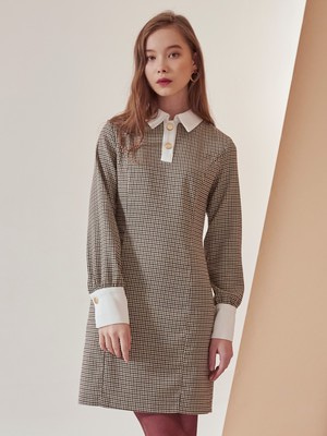 [VEMVER] TWO BUTTON CHECK ONEPIECE (IVORY)