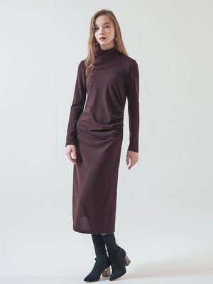 [VEMVER] SHIRRING POINT LONG ONEPIECE (BROWN)