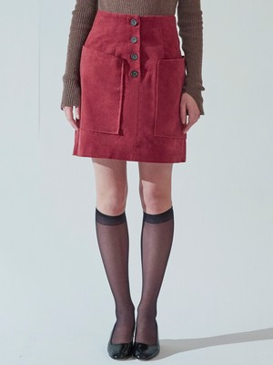 [VEMVER] BUTTON POINT CORDUROY SKIRT (RED)