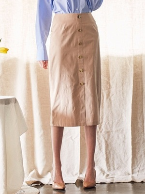 [LARTIGENT] LS BUTTON SKIRT (BEIGE)