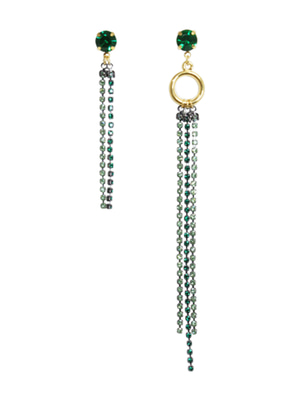 [M.M.D] Unbalanced greeny cubic earrings (Green)