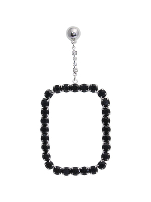 [M.M.D] Cubic square single earring (Black)