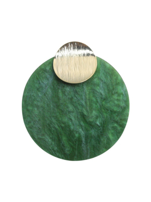 [M.M.D] Marble round charm earrings (Green)