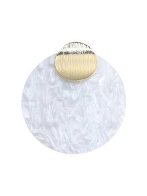 [M.M.D] Marble round charm earrings (White)