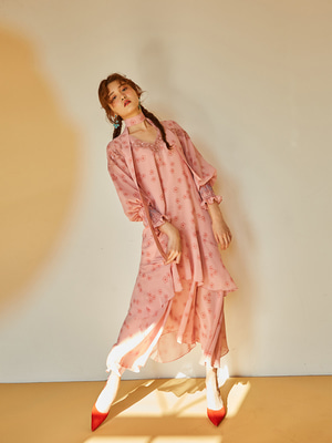 [OH.L] SMOCKING SLEEVE PLEATS DERSS_LIGHT PINK