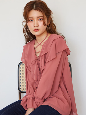 [OH.L] STRING POINT PRILL BLOUSE_ROSE PINK