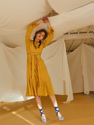[OH.L] PONIT CUFFS V NECK DRESS_YELLOW