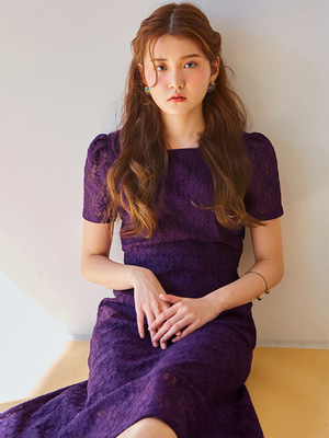 [OH.L] SQUARE NECK LACE DRESS_PURPLE