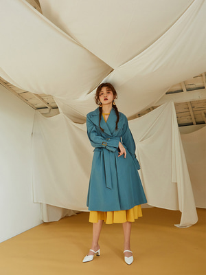 [OH.L] INVERTED PLEATS SLEEVE TRENCH COAT_MINT BLUE