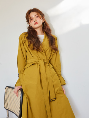 [OH.L] INVERTED PLEATS SLEEVE TRENCH COAT_YELLOW