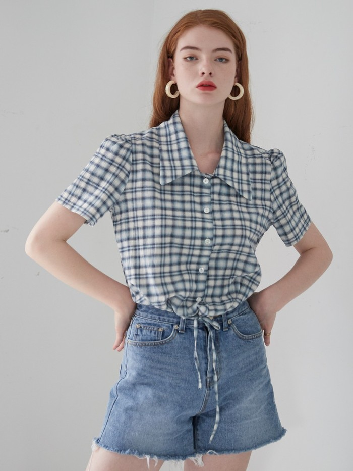 [VEM.VER] FLAT COLLAR CROP BLOUSE_CHECK