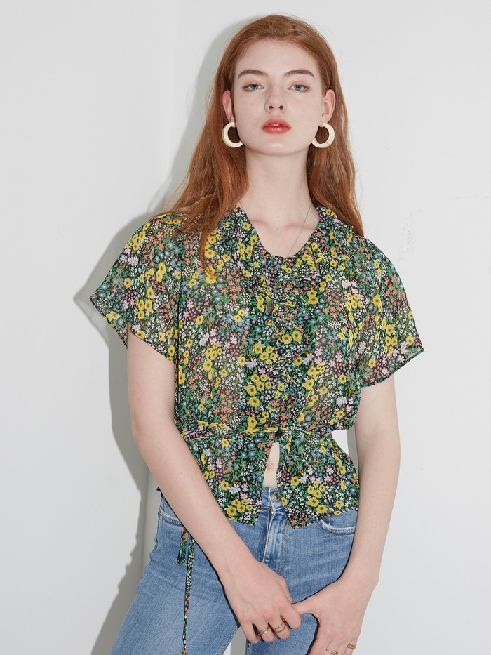 [VEM.VER] RUFFLE POINT FLORAL BLOUSE