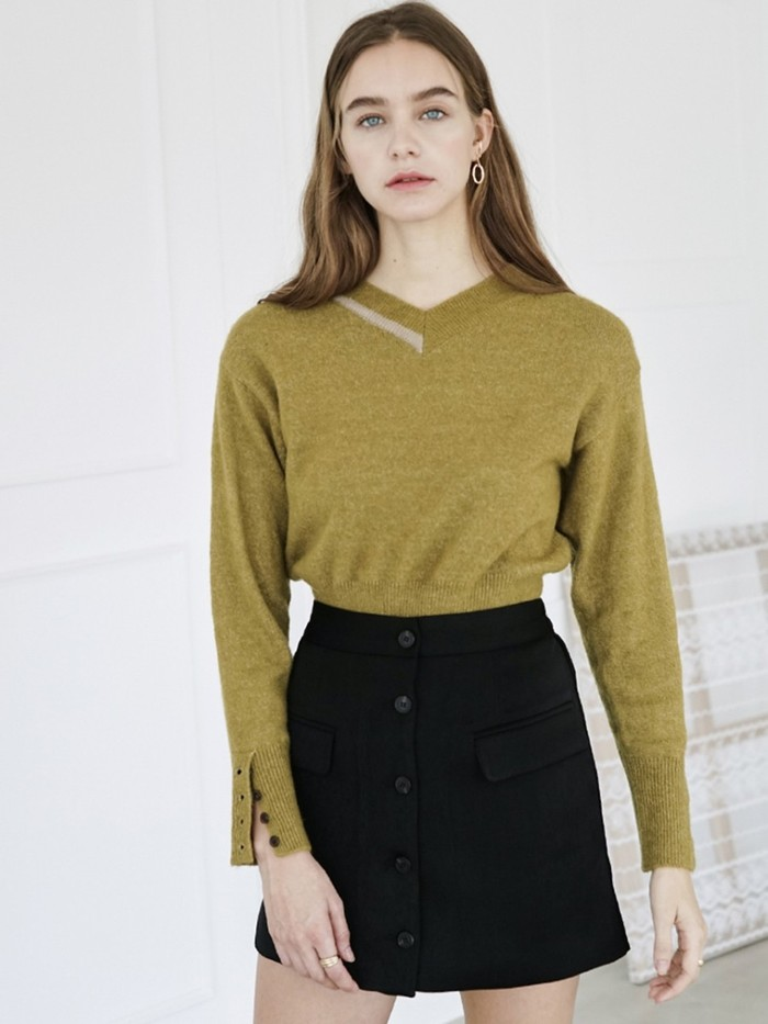 [BIBYSEOB] COLOR BLOCK PULLOVER OLIVE