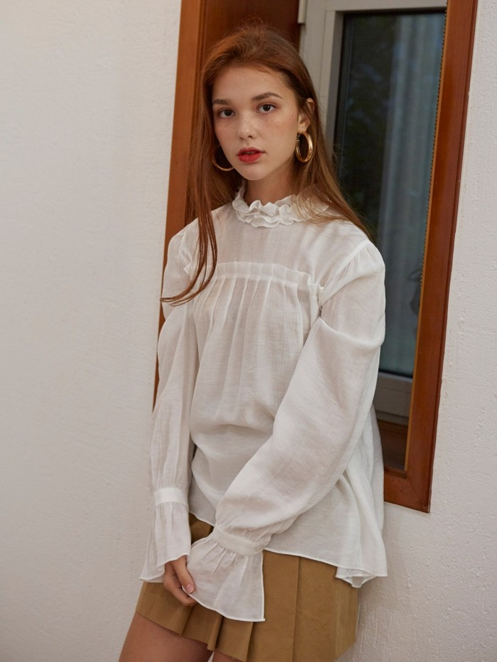 [VEM.VER]WHITE SHIRRING BLOUSE
