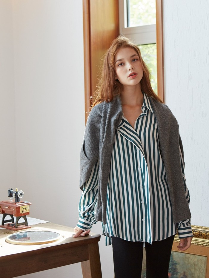 [VEM.VER]DRAPE PLACKET STRIPE SHIRTS_GREEN