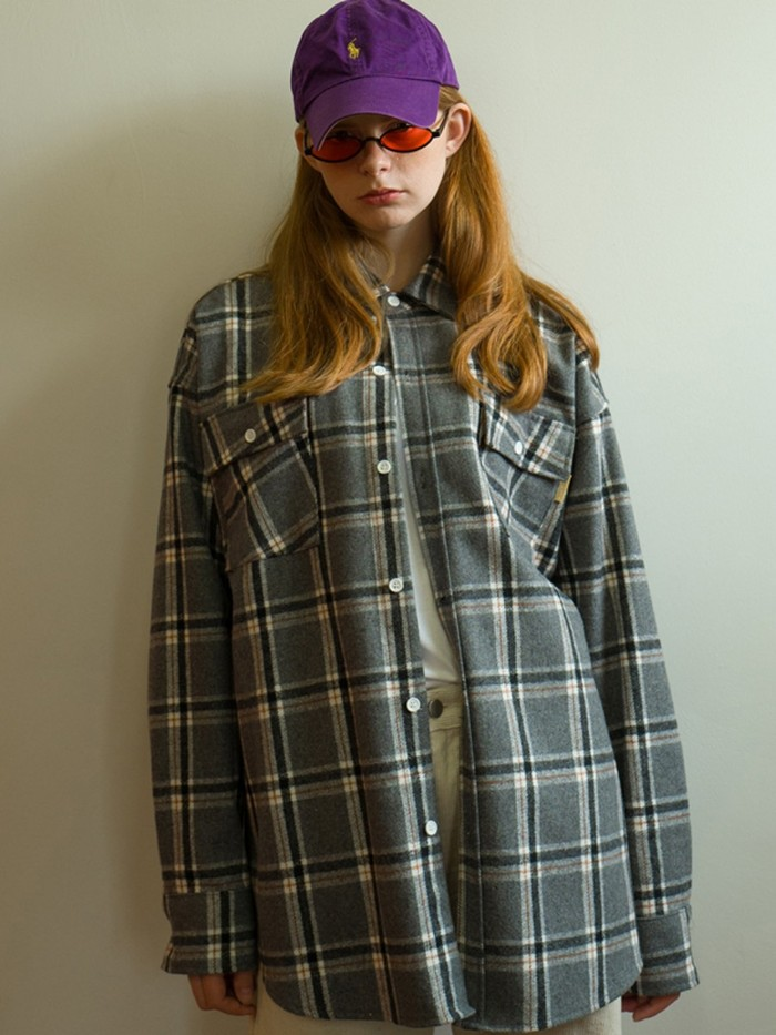 [MAIN BOOTH] 8F Wool Check Shirt (GRAY)