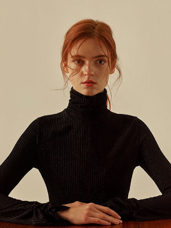 [OH.L]SHINING STRIPE TURTLENECK_BLACK