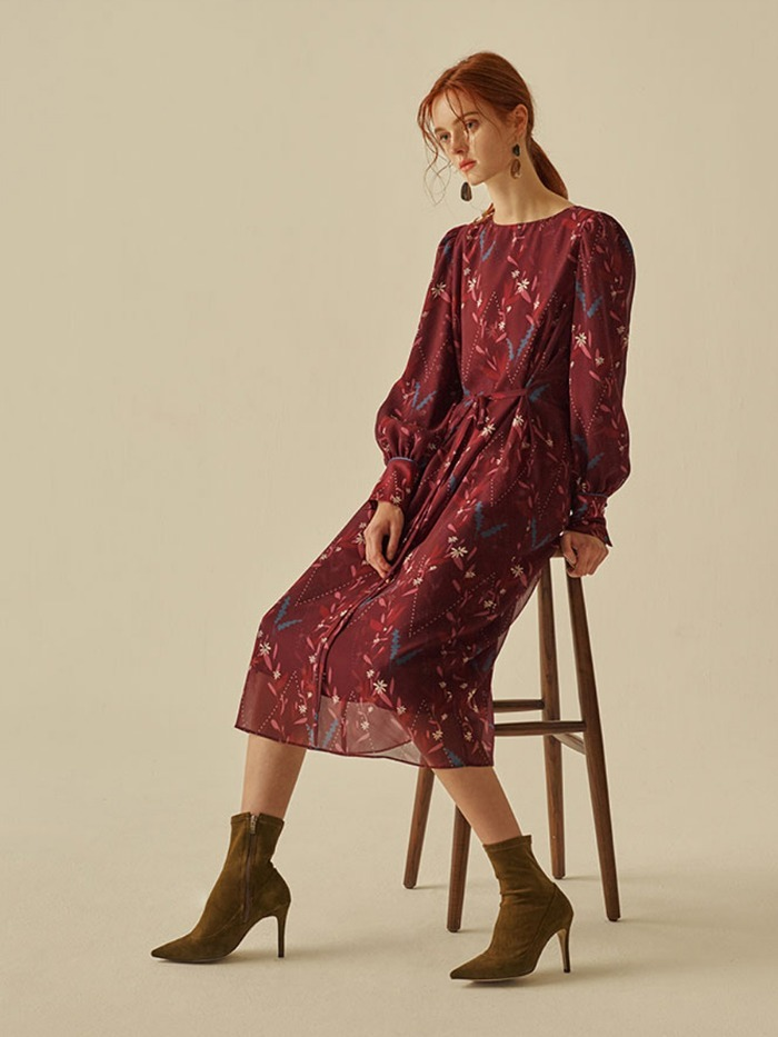 [OH.L]OVERLAP PRINTING DRESS_BURGUNDY