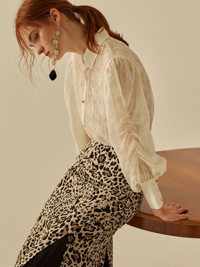 [OH.L]ROSE PUFF SHIRRING  BLOUSE_CREAM