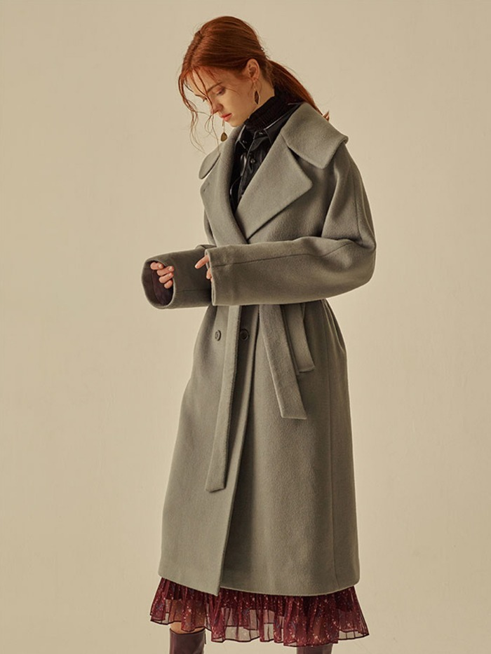 [OH.L]WOOL CASH WIDE COLLAR BELTED COAT_LIGHT ASH MINT
