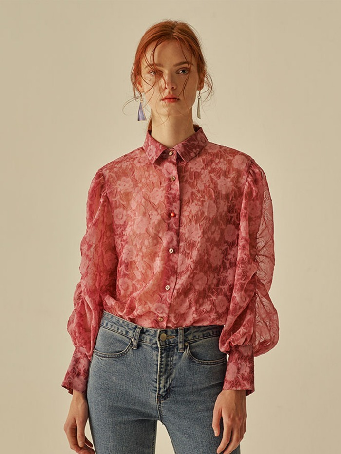 [12/10예약배송][OH.L]ROSE PUFF SHIRRING  BLOUSE_DEEP PINK