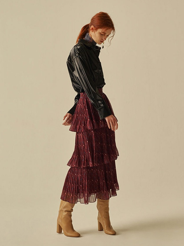 [OH.L]CAN CAN PLEATS PRINTING SKIRT_BURGUNDY
