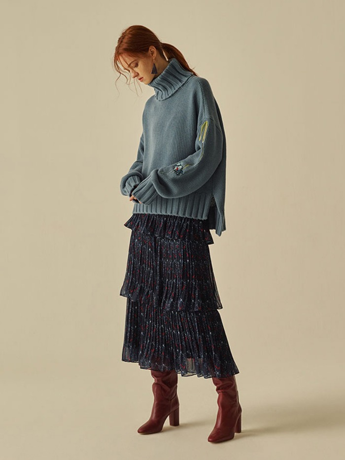 [OH.L]CAN CAN PLEATS PRINTING SKIRT_NAVY